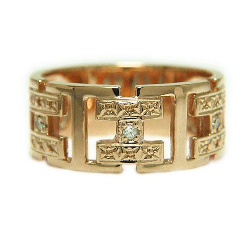 K10PGピンクゴールド リング ダイヤ 幅広 指輪 誕生石 マリッジ