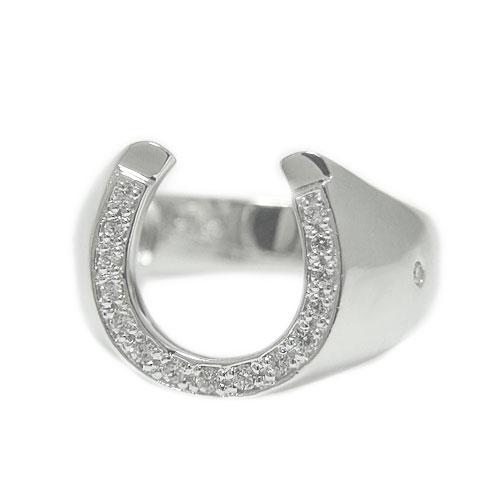 K18 ダイヤモンド リング 指輪 記念日 誕生石 馬蹄 馬 ホースシュー 太め ホワイト/ピンク/イエローゴールド 選べるゴールドカラー