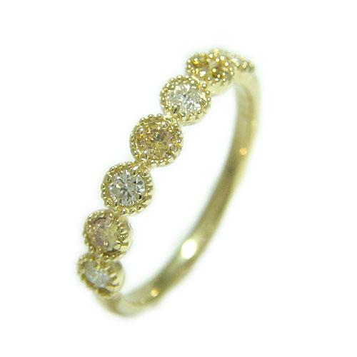 K18 イエローダイヤモンド リング ダイヤモンド 希少 指輪 記念日 誕生石 ホワイト/ピンク/イエローゴールド 選べるゴールドカラー