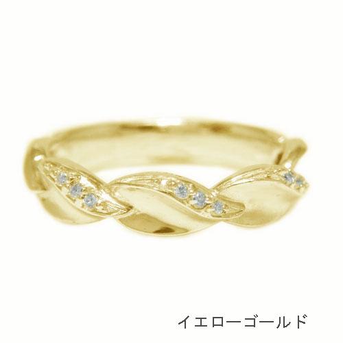 K18 ダイヤモンド リング リーフモチーフ 指輪 記念日 誕生石 ホワイト ピンク イエローゴールド 選べるゴールドカラーUVSMpqzG