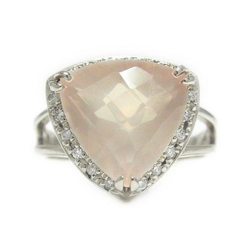 PT900プラチナ リング ローズクォーツ ダイヤ 天然石 半貴石 トリリアントカット 色石 指輪