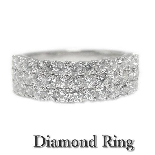 K18ホワイト/ピンク/イエローゴールド リング ダイヤモンド ボリューム 幅広 大振り 指輪 記念日 誕生石 選べるゴールドカラー