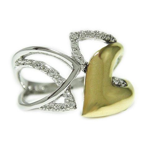 K10 ホワイト/ピンク/イエローゴールド ダイヤ リング 幅広 ボリューム感 4月誕生石 指輪 記念日 ギフトプレゼント