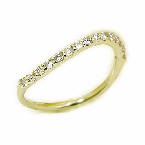 K18YG イエローゴールド ダイヤ ダイヤモンド エタニティー ウェーヴ リング 指輪 4月誕生石