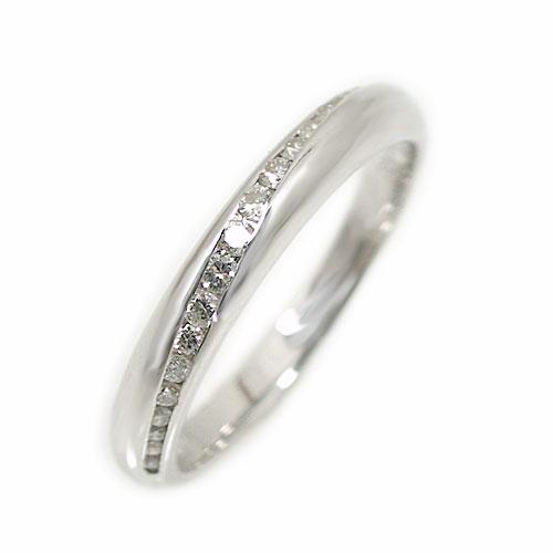 K18ホワイトゴールド ダイヤ リング 重ね着け ピンキー シンプル 指輪