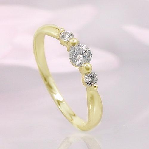 送料無料 永遠の定番モデル 出群 K10イエローゴールド ダイヤ リング ピンキー 指輪 一粒石 シンプル