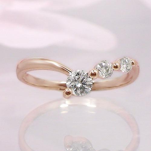 まとめ買い特価 送料無料 低廉 K10ピンクゴールド ダイヤ リング 一粒石 指輪 ピンキー シンプル