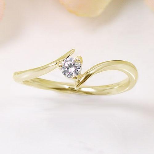 K18イエローゴールド ダイヤ リング 一粒石 ピンキー 指輪