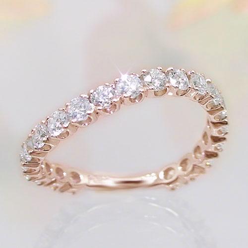 K10ピンクゴールド ダイヤモンド エタニティー リング 1カラット 指輪 ウェーブデザイン