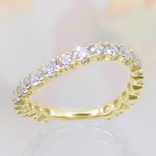 K10イエローゴールド ダイヤモンド エタニティー リング 1カラット 指輪 ウェーブデザイン