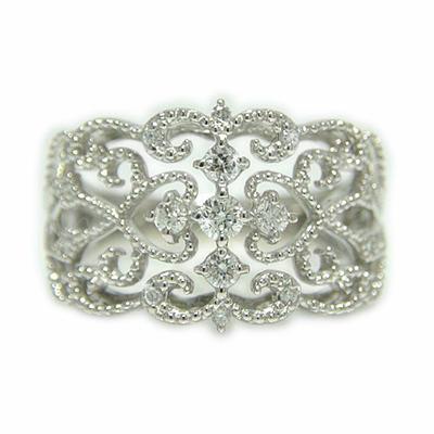 プラチナ ダイヤモンド リング アンティーク ミル打ち 透かし 指輪 PT900 ゴージャス 繊細 クラシカル 記念日