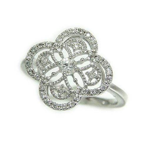 PT900プラチナ ダイヤモンド 四葉 クローバー アンティーク ミル打ち 透かし リング 指輪