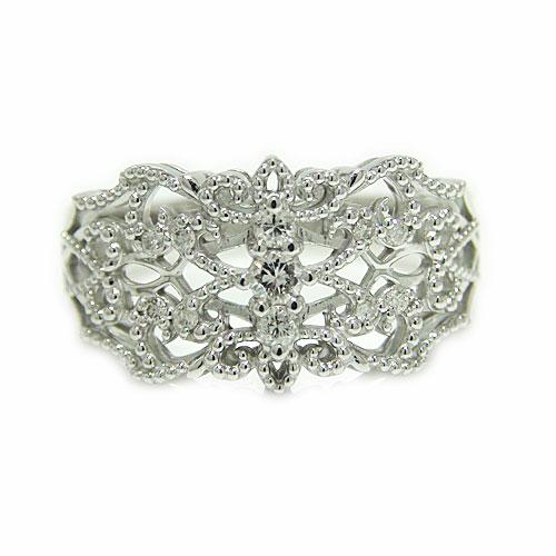 K10 リング ホワイトゴールド ダイヤモンド アンティーク ミル打ち 透かし 指輪 透かし柄 エレガント 幅広 サイズ11号