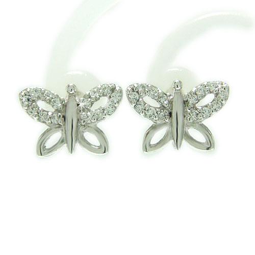 K14WG ホワイトゴールド ダイヤ ダイヤモンド 蝶 蝶々 バタフライ モチーフ キャッチ スタッド ピアス