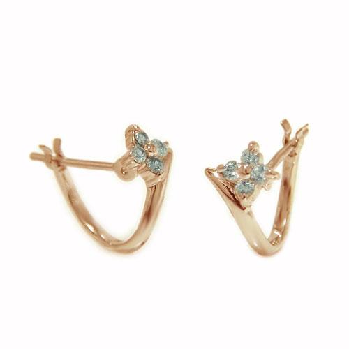 K18PGピンクゴールド ピアス ダイヤ ダイヤモンド 四つ葉 クローバー お花 遮断式