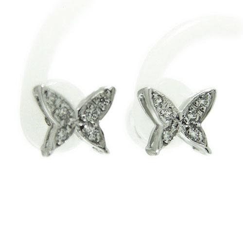 PT900プラチナ ピアス ダイヤ スタッド 蝶 バタフライ 天然石 誕生石