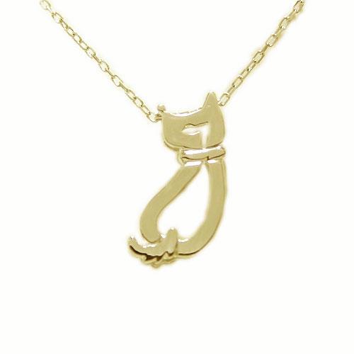 K18YG イエローゴールド 地金 ネコ 猫 ねこ ペンダント ネックレス
