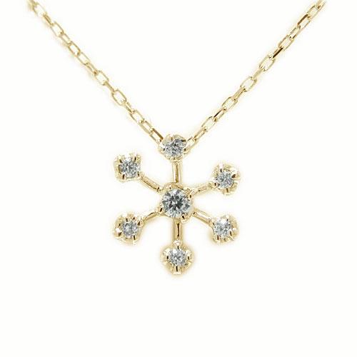 K18YG イエローゴールド 雪の結晶 スノーモチーフ ダイヤ ペンダント ネックレス