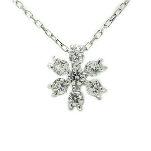 PT900 プラチナ 雪の結晶 雪 スノーモチーフ ダイヤ ペンダント ネックレス