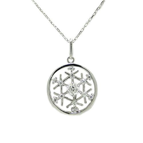 K18WG ホワイトゴールド 雪の結晶 雪 スノーモチーフ ダイヤ ペンダント ネックレス 02P30Nov14