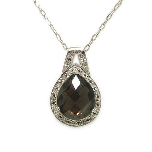 K18WG ホワイトゴールド スモーキークォーツ 茶水晶 ダイヤ ダイヤモンド 半貴石 天然石 ツユ型 ペアシェイプ 長さ調節 スライドアジャスター付 ペンダント ネックレス