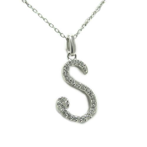 PT900プラチナ ダイヤ ダイヤモンド イニシャル ペンダント ネックレス アルファベット S ローマ字 天然石 誕生石