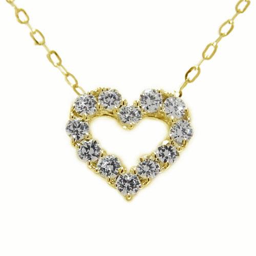 K18YGイエローゴールド ダイヤ ダイヤモンド ペンダント ネックレス ハート オープンハート 1カラット 大粒 天然石 誕生石