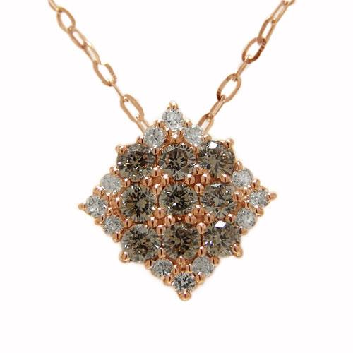K18PGピンクゴールド ブラウンダイヤ ダイヤ ダイヤモンド ペンダント ネックレス スクエア 天然石 誕生石