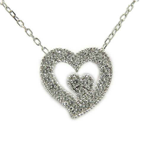 PT900プラチナ ダイヤ ダイヤモンド ペンダント ネックレス ハート ツインハート オープンハート 天然石 誕生石