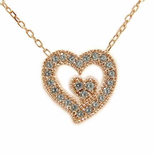 K18PGピンクゴールド ダイヤ ダイヤモンド ペンダント ネックレス ハート ツインハート オープンハート 天然石 誕生石