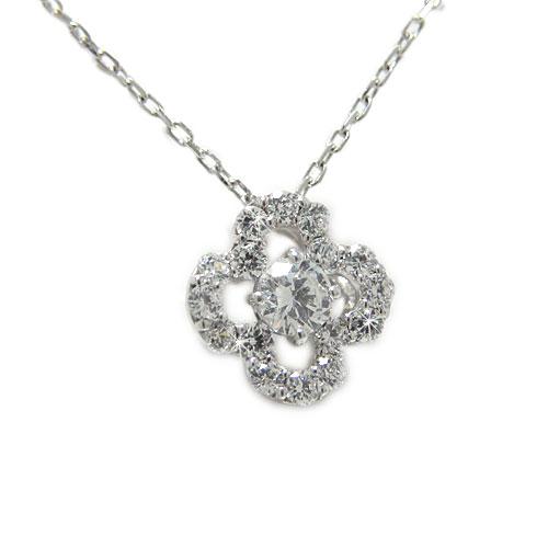 PT900プラチナ ダイヤ ダイヤモンド ペンダント ネックレス 四つ葉 クローバー お花 天然石 誕生石