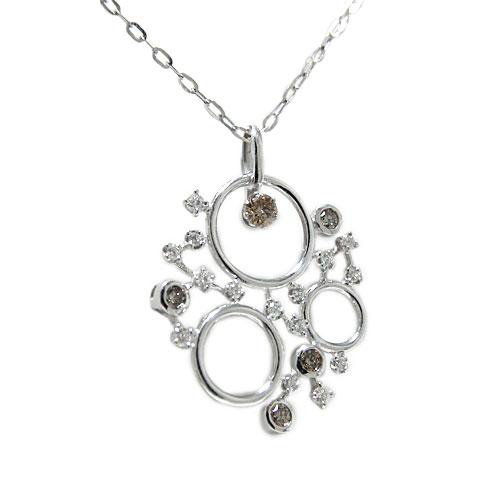 PT900プラチナ ダイヤ ダイヤモンド ブラウンダイヤ ペンダント ネックレス 天然石 誕生石