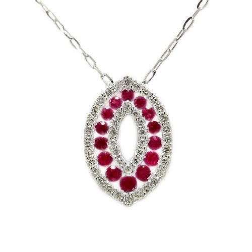 PT900プラチナ ルビー ダイヤ ペンダント ネックレス 天然石 7月誕生石 赤い宝石 レディースジュエリー