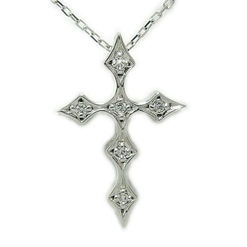 K18ホワイトゴールド ダイヤ クロス ペンダント 十字架 ネックレス