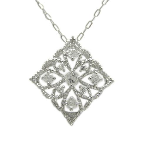 プラチナPT900 ペンダント ダイヤ ネックレス 繊細 ミル打ち 天然石 誕生石 0.30ct