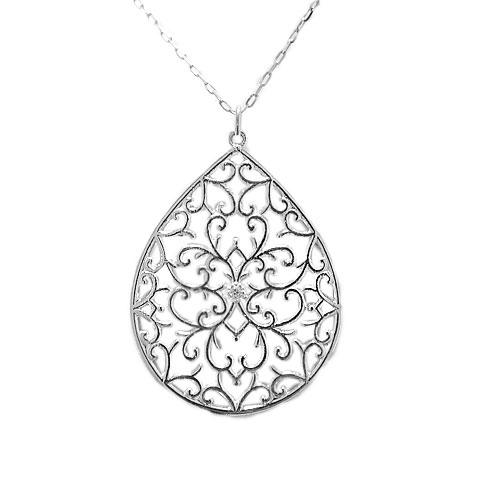プラチナPT900 ペンダント ダイヤ ネックレス 透かし柄 繊細 天然石 大ぶり ゆったり50cmチェーン付き