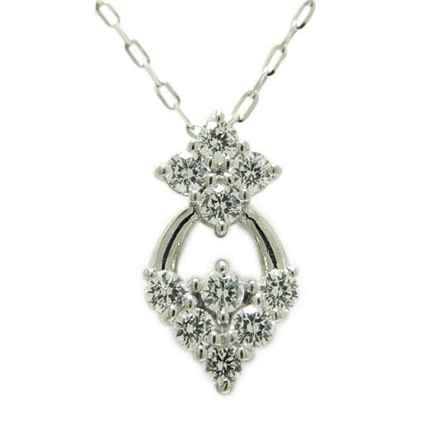 ダイヤ ペンダント ネックレス K18ホワイト/ピンク/イエローゴールド 花かご フラワー 上品 10石 天然石 誕生石