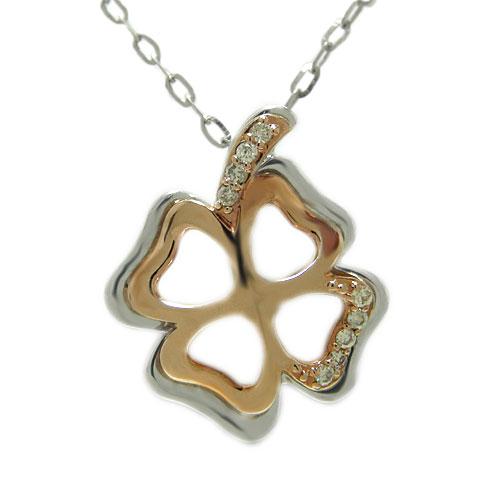 ダイヤ クローバー ペンダント ネックレス K18ホワイト/ピンク/イエローゴールド コンビ 四つ葉 葉 ハート 選べるゴールドカラー 天然石 誕生石