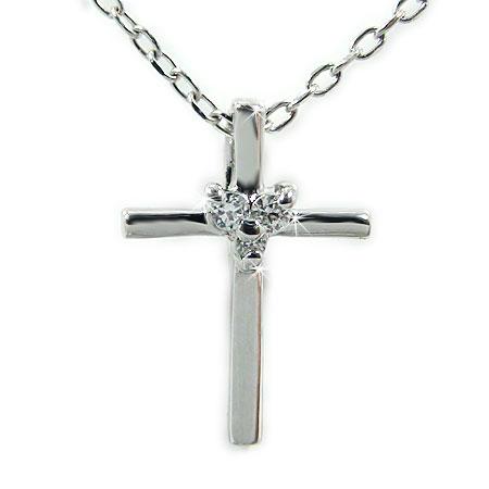 K18ホワイトゴールド クロス ダイヤ ペンダント 十字架 ネックレス