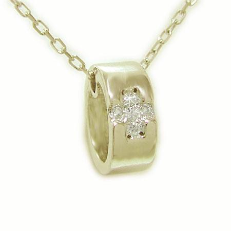 K18イエローゴールド ペンダント ダイヤ クロス ベビーリング 十字架 ネックレス