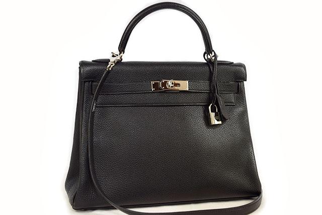 ●【HERMES】エルメス ハンドバッグ ショルダーバッグ ケリー32 内縫い 黒 ブラック トゴ  S金具 シルバー金具  □D刻印  本物  ランクAプラス