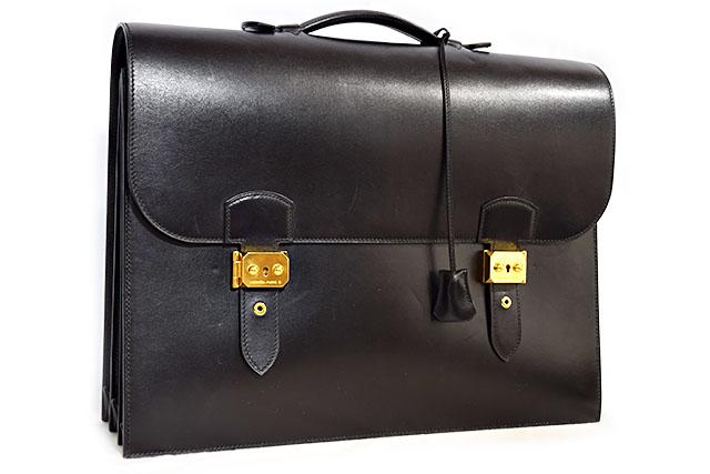 ●【HERMES】エルメス 書類バッグ  ブリーフケース   ビジネスバッグ  サックアデペッシュ41 ダブルベルト  黒 ブラック  ボックスカーフ  G金具 ゴールド金具  □G刻印 マチ3つ  本物  ランクA