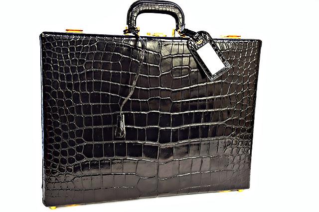●【HERMES】 エルメス  アタッシュケース ビジネスバッグ  黒  ブラック  クロコダイル ポロサス  ゴールド金具  G金具  書類バッグ メンズ 本物 ヴィンテージ!