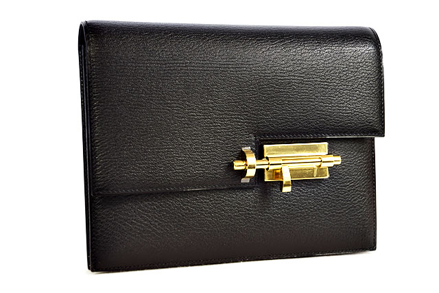 【HERMES】エルメス ヴェールクラッチ 黒   ブラック   シェーブル  G金具  ゴールド金具  C刻印  本物  新品 クラッチバッグ