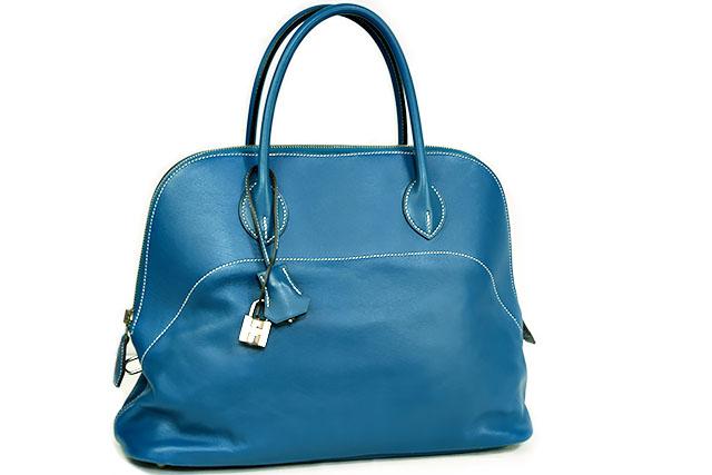 ●【HERMES】エルメス ハンドバッグ  ボリードリラックス 35  Bolide Relax  □Q刻印  ヴォーシッキム ブルーイズミール  シルバー金具 S金具  本物 ランクA (Blue izmir) 35cm