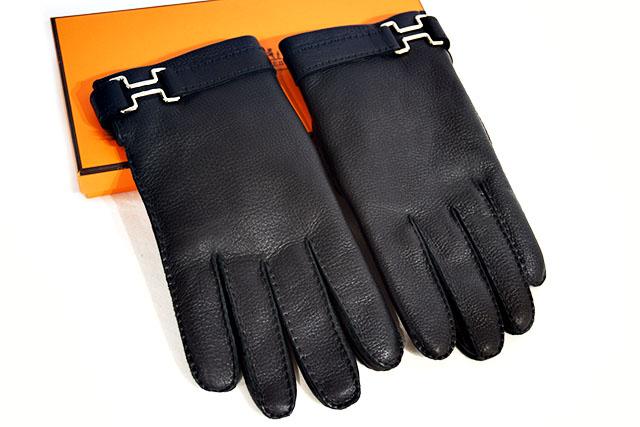●【HERMES】 エルメス  手袋  レザーグローブ ♯8 1/2  レザー  (内側ファー) 黒 ブラック  シルバー金具  S金具  本物  未使用