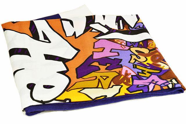 ●【HERMES】エルメス    大判ショール   ストール 140    カシミヤ65%×シルク35%     エルメス・グラフィティ 【 GRAFF HERMES 】 ブルー×アイボリー×その他    本物   未使用  保管品