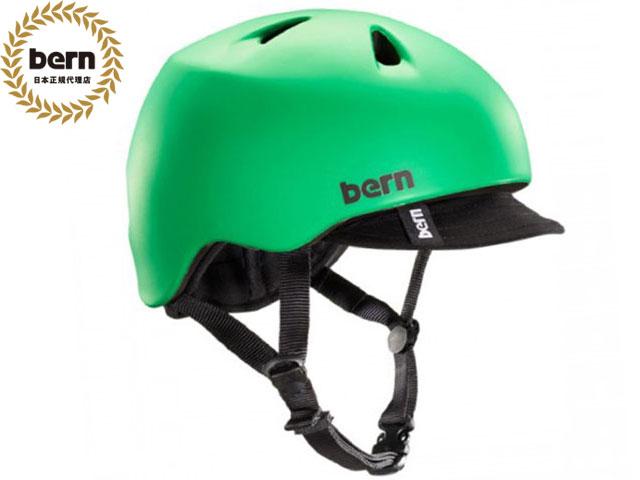 【国内正規品】 バーン bern NINO ニノ (Visor付) MATTE KELLY GREEN VISOR BE-VJBMGV 緑×黒 自転車 スケートボード BMX ピスト ヘルメット キッズ