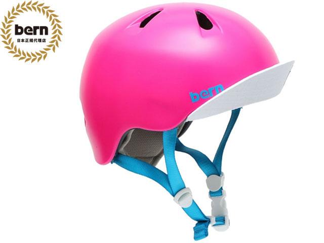 バーン bern - NINA ニーナ (Visor付) SATIN HOT PINK VISOR BE-VJGSPNKV ツヤ消しピンク 自転車 スケートボード BMX ピスト ヘルメット キッズ
