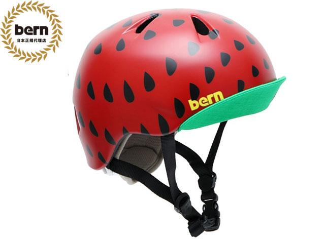 【国内正規品】 バーン bern NINA ニーナ (Visor付) SATIN RED STRAWBERRY VISOR ツヤあり 赤 黒 自転車 スケートボード BMX ピスト ヘルメット キッズ